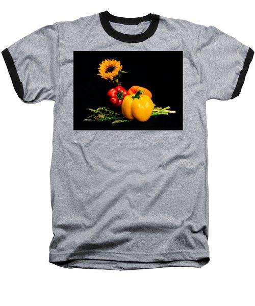 Still Life Peppers Asparagus Sunflower Baseball T-Shirt by Jon Woodhams