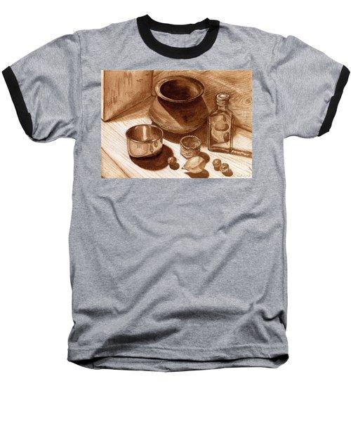Still Life Walnut Ink Baseball T-Shirt