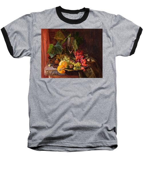 Still-life With A Glass Of Wine And Grapes Baseball T-Shirt