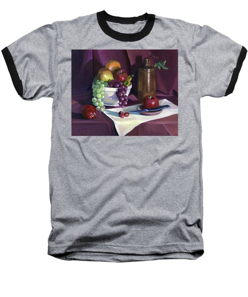 Baseball T-Shirt featuring the painting Still Life With Apples by Nancy Griswold