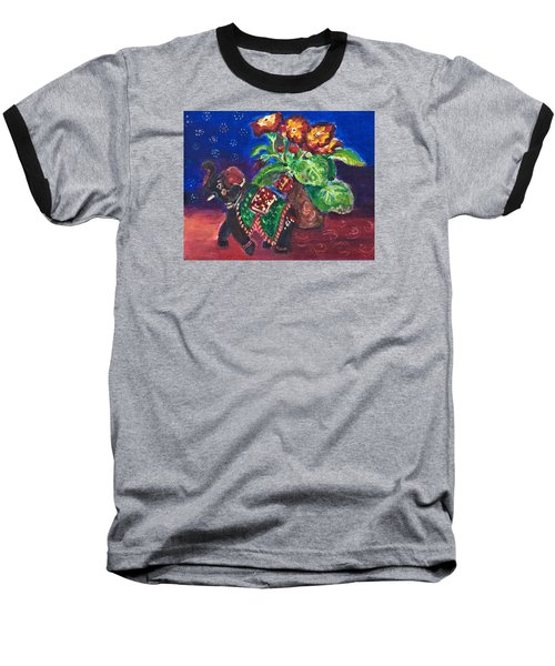 Still Life With Elephant Figure And Prrimulas Baseball T-Shirt