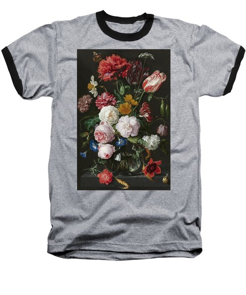 Still Life With Flowers In Glass Vase Baseball T-Shirt