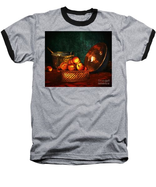 Baseball T-Shirt featuring the digital art Still Life With Peaches And Copper Bowl by Lianne Schneider