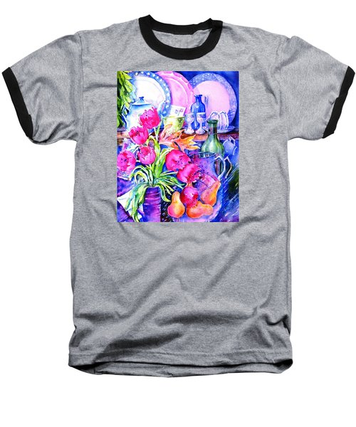 Still Life With Tulips  Baseball T-Shirt by Trudi Doyle