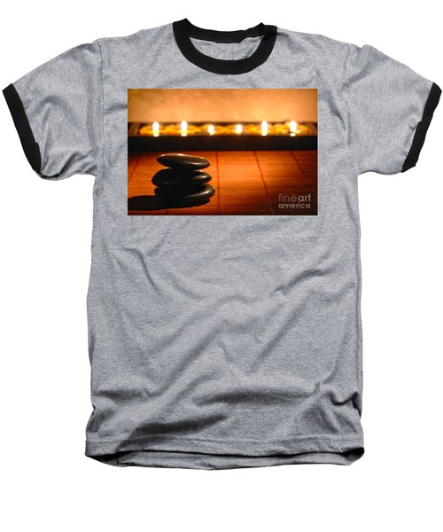 Stone Cairn And Candles For Quiet Meditation Baseball T-Shirt