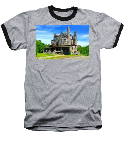 Baseball T-Shirt featuring the photograph Stone Mansion Blue Sky by Becky Lupe