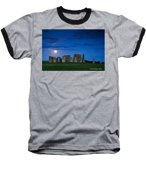 Baseball T-Shirt featuring the painting Stonehenge At Night by Bruce Nutting