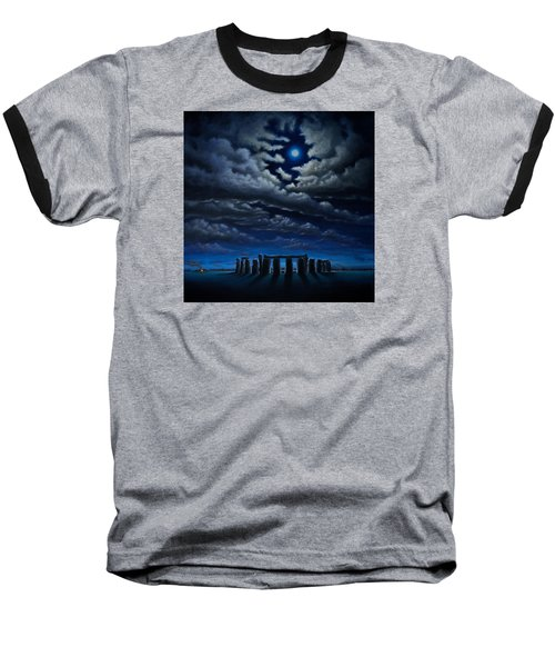 Baseball T-Shirt featuring the painting Stonehenge - The People's Circle by Ric Nagualero