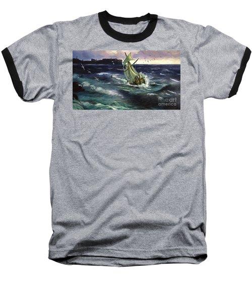 Baseball T-Shirt featuring the digital art Storm At Dubrovnik by Lianne Schneider