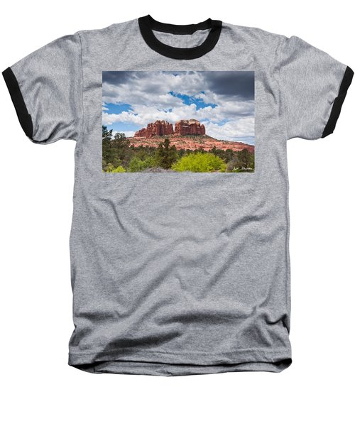 Baseball T-Shirt featuring the photograph Storm Clouds Over Cathedral Rocks by Jeff Goulden