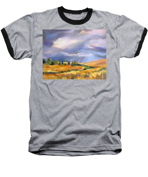 Baseball T-Shirt featuring the painting Storm Colors by Rae Andrews
