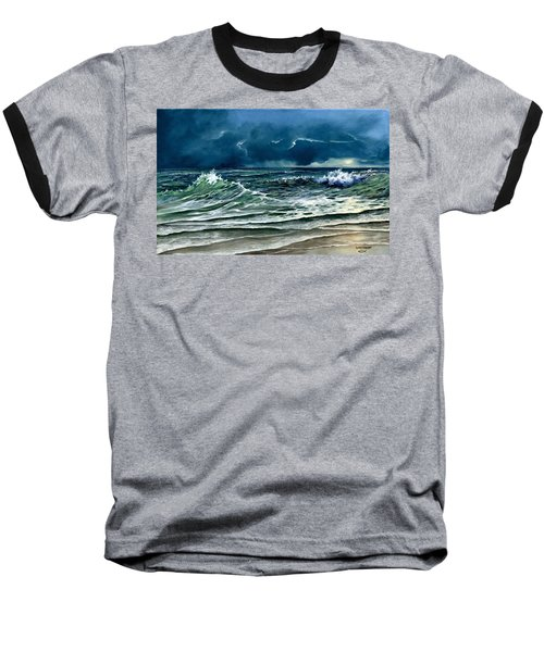 Baseball T-Shirt featuring the painting Storm Off Yucatan Mexico by Lynne Wright