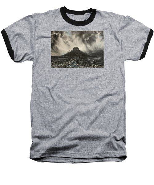 Baseball T-Shirt featuring the painting Storm Over St Michaels Mount Cornwall by Jean Walker