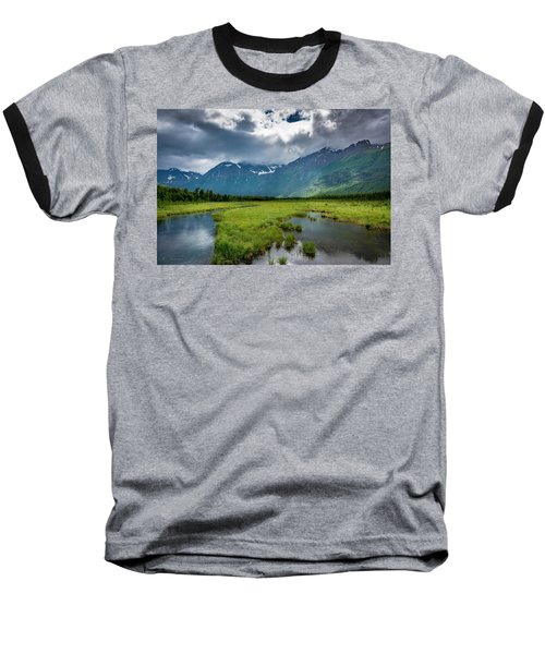 Storm Over The Mountains Baseball T-Shirt