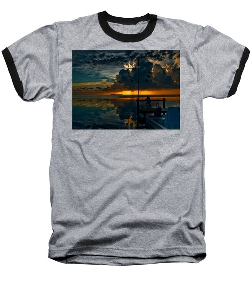 Sunset Tropical Storm And Watcher In Florida Keys Baseball T-Shirt