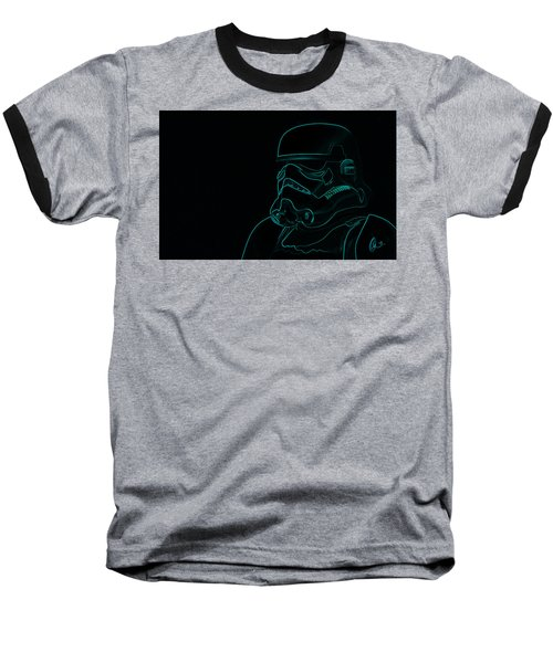 Baseball T-Shirt featuring the digital art Stormtrooper In Teal by Chris Thomas
