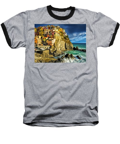 Stormy Day In Manarola - Cinque Terre Baseball T-Shirt