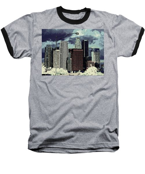 Baseball T-Shirt featuring the photograph stormy Los Angeles from the freeway by Jodie Marie Anne Richardson Traugott          aka jm-ART