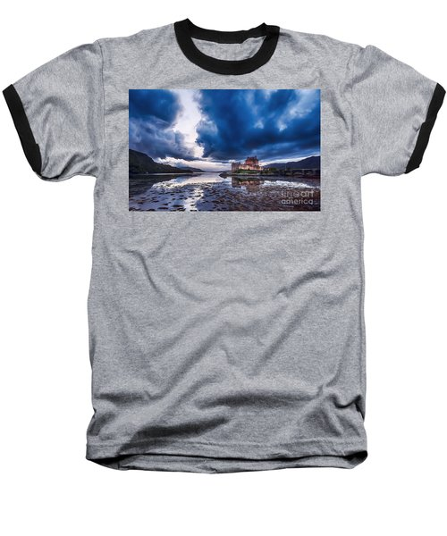 Stormy Skies Over Eilean Donan Castle Baseball T-Shirt