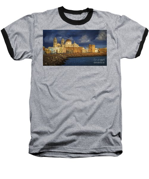 Stormy Skies Over The Cathedral Cadiz Spain Baseball T-Shirt