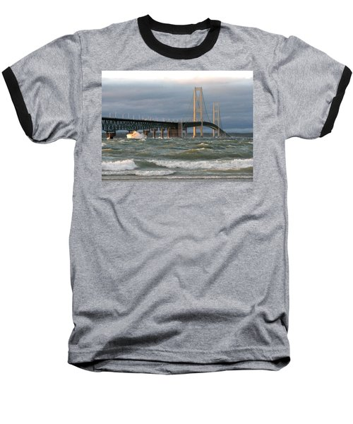 Stormy Straits Of Mackinac Baseball T-Shirt