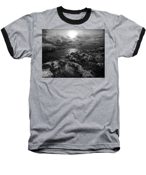 Blank And White Stormy Mediterranean Sunrise In Contrast With Black Rocks And Cliffs In Menorca  Baseball T-Shirt by Pedro Cardona