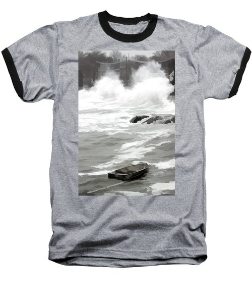 Baseball T-Shirt featuring the photograph Stormy Waves Pound The Shoreline by Jeff Folger
