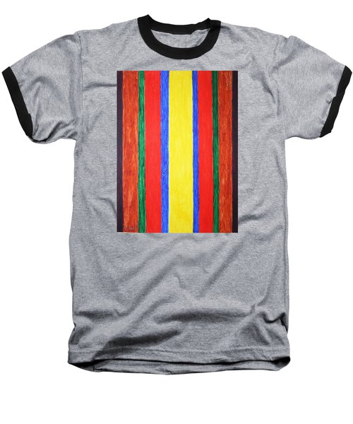 Baseball T-Shirt featuring the painting Vertical Lines by Stormm Bradshaw