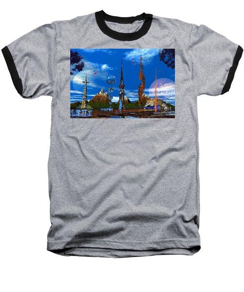 Strange Planet Baseball T-Shirt by Mark Blauhoefer