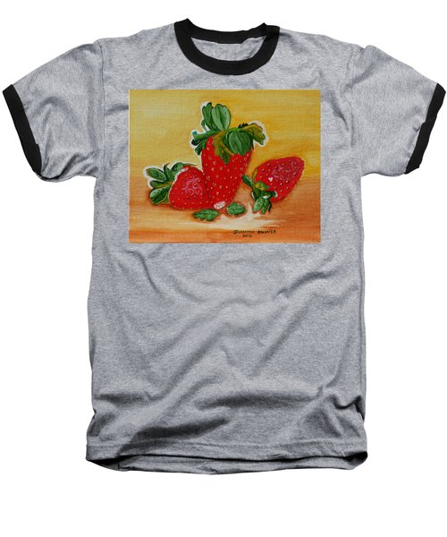 Baseball T-Shirt featuring the painting Strawberry Delight by Johanna Bruwer