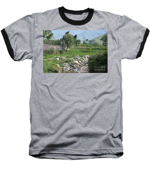 Stream Trees House And Mountains Swat Valley Pakistan Baseball T-Shirt by Imran Ahmed