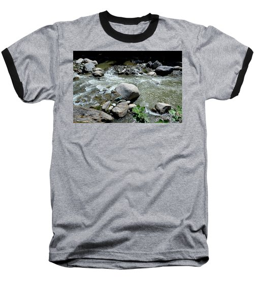 Baseball T-Shirt featuring the photograph Stream Water Foams And Rushes Past Boulders by Imran Ahmed