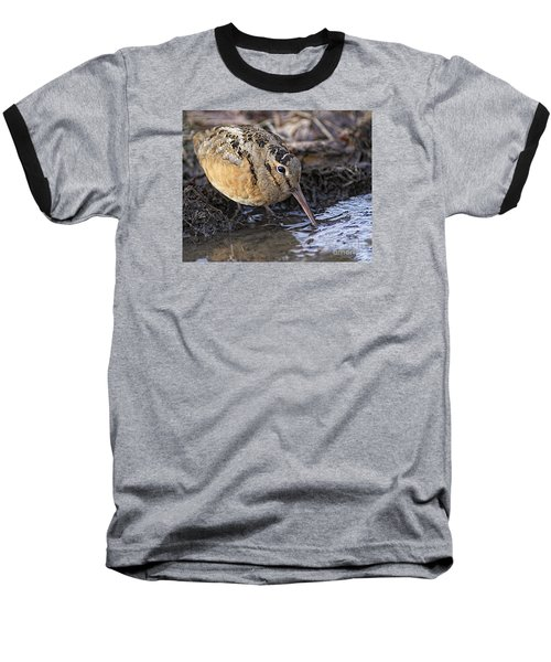 Streamside Woodcock Baseball T-Shirt by Timothy Flanigan