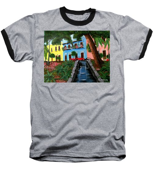 Street Hill In Old San Juan Baseball T-Shirt by Luis F Rodriguez