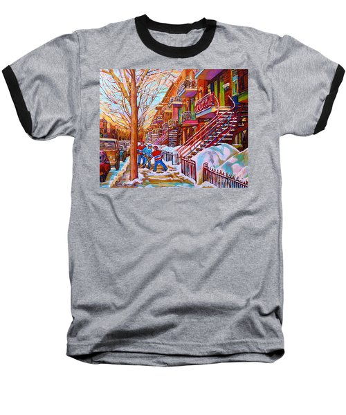 Street Hockey Game In Montreal Winter Scene With Winding Staircases Painting By Carole Spandau Baseball T-Shirt
