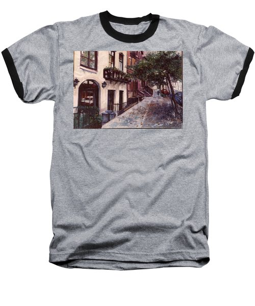 Baseball T-Shirt featuring the painting street in the Village NYC by Walter Casaravilla
