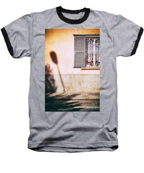 Baseball T-Shirt featuring the photograph Street Lamp Shadow And Window by Silvia Ganora