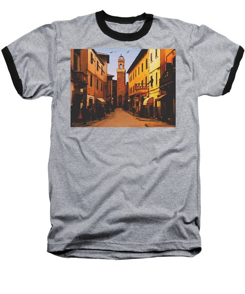 Baseball T-Shirt featuring the painting Street Scene by Sophia Schmierer