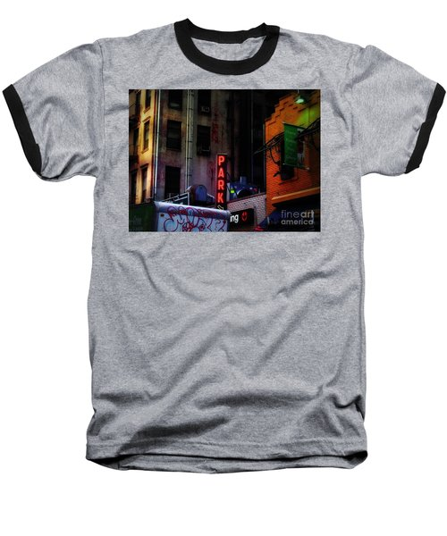 Graffiti And Grand Old Buildings Baseball T-Shirt by Miriam Danar