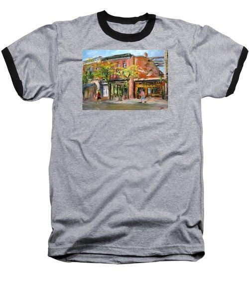 Baseball T-Shirt featuring the painting Street View by Jieming Wang