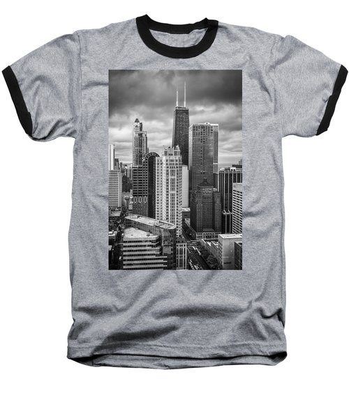 Streeterville From Above Black And White Baseball T-Shirt by Adam Romanowicz