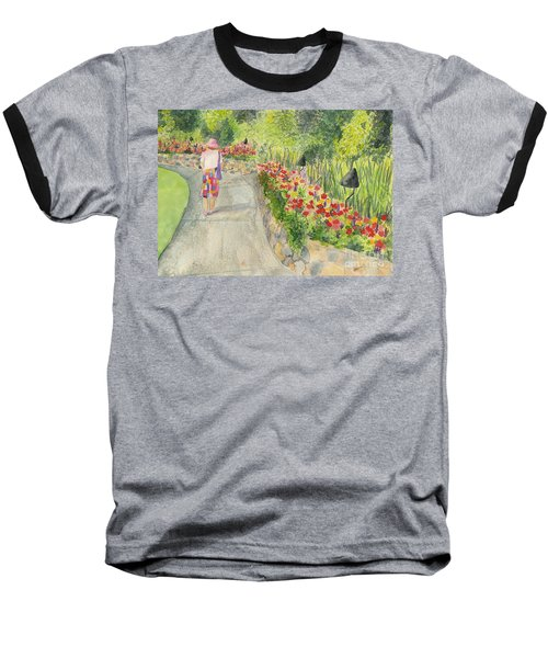 Baseball T-Shirt featuring the painting Strolling Butchart Gardens by Vicki  Housel