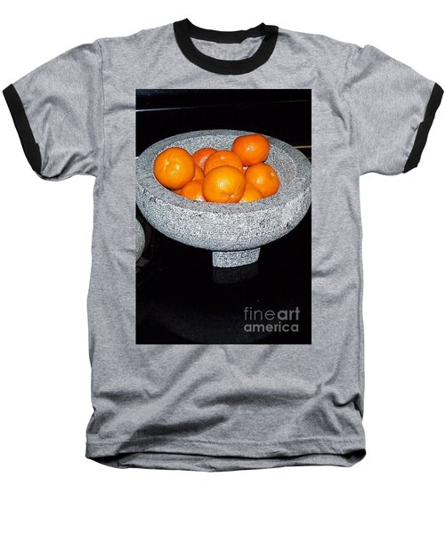 Study In Orange And Grey Baseball T-Shirt by Susan Williams