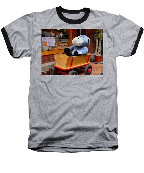 Stuffed Donkey Toy In Wooden Barrow Cart Baseball T-Shirt