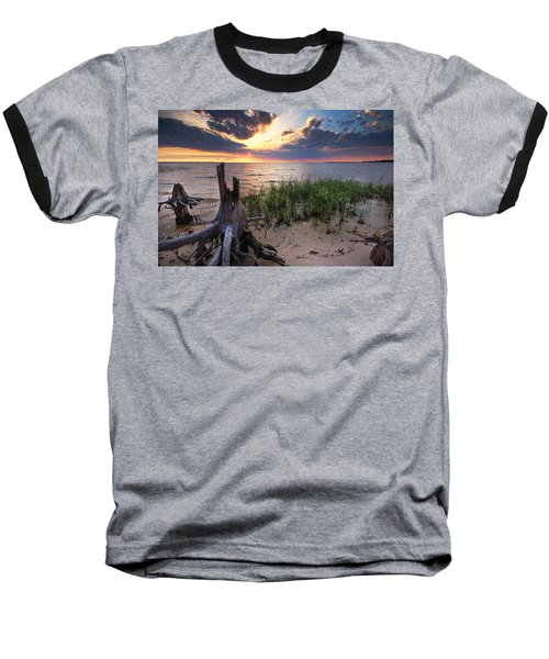 Stumps And Sunset On Oyster Bay Baseball T-Shirt by Michael Thomas