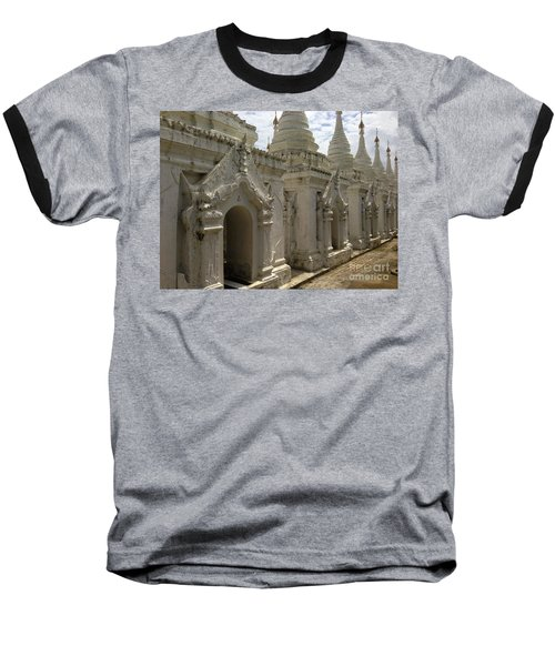 Baseball T-Shirt featuring the photograph Stupas With Buddhist Inscription Slabs Sandamuni Pagoda Mandalay Burma by Ralph A  Ledergerber-Photography