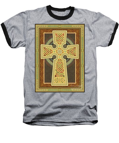 Stylized Celtic Cross Baseball T-Shirt