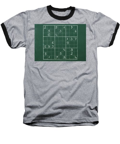 Sudoku On A Chalkboard Baseball T-Shirt