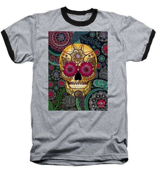 Sugar Skull Paisley Garden - Copyrighted Baseball T-Shirt by Christopher Beikmann