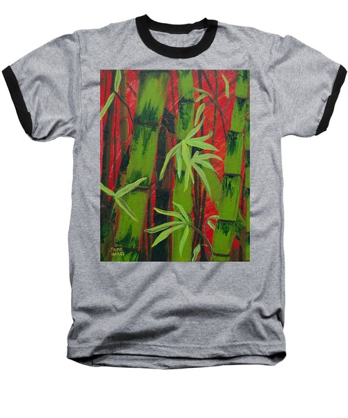 Sultry Bamboo Forest Acrylic Painting Baseball T-Shirt